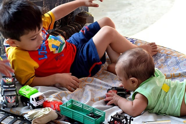 Preschooler and toddler playing with toys together in ECE